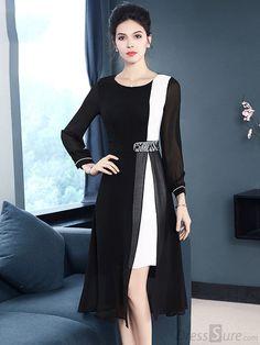 Casual O-Neck Long Sleeve Hit Color Slit Skater Dress - DressSure.com