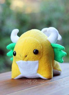 Yellow gumdrop dragon plush by MyBeautifulMonsters
