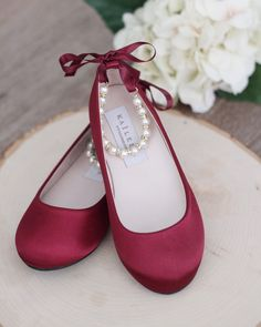 WINE Satin Flats with Pearls Ankle Strap – Satin flower girls shoes, Burgundy Shoes, Dark Red Shoes - Modern Kid Shoes, Girls Shoes, Shoes Women, Ladies Shoes, Vans Shoes, Girls Sandals, Ankle Strap Heels, Ankle Straps, Satin Wedding Shoes