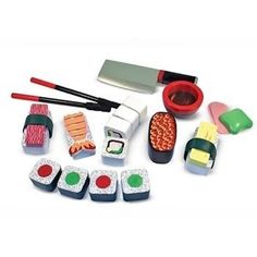 M&D MELISSA AND DOUG Wooden Sushi Slicing Play SET with Chopsticks  Available at Kids Mega Mart online Shop Australia