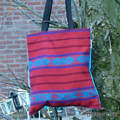 Shopping bag blauw-roos
