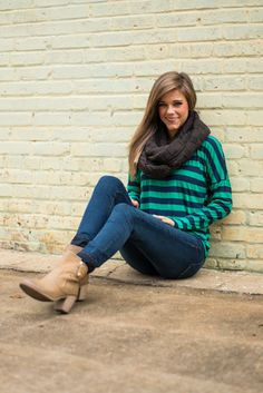 In The Fast Lane Top, Navy/Jade from The Mint Julep Boutique