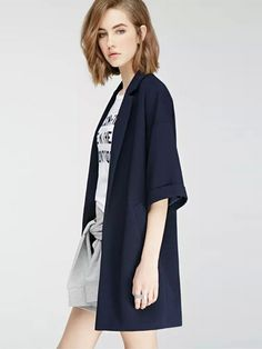 Open Front Notched Collar Loose Long Coat & Jackets / Coats - at Jollychic
