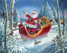 Picture Christmas Scenes, Christmas Past, Father Christmas, Christmas Pictures, Santas Vintage, Vintage Santa Claus, Christmas Drawing, Christmas Paintings, Decoupage