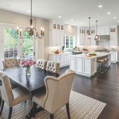Inspiring Open Concept Kitchen You'll Love The Best Open Concept Kitchen Design Trends of 2018 Open concept kitchen- living room is perfect for small apartments but it also looks gorgeous in big spaces when the kitchen is connected with the dining room Farmhouse Kitchen Lighting, Kitchen Lighting Fixtures, Home Decor Kitchen, Home Kitchens, Apartment Kitchen, Kitchen Lighting Over Table, Dream Kitchens, Kitchen Chandelier, Living Room Recessed Lighting