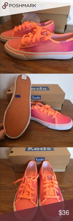 """NWT Coral Keds Sneakers Brand new sneakers never been worn in original box. Style is """"double up coral sugar dip"""". So cute for the spring ! I have one size 12 1/2 and one size 6 pictures are mixed showing both. Keds Shoes Sneakers"""