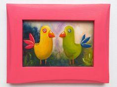 Birds Original Art Animals Print Printed Wooden by MikiMayoShop