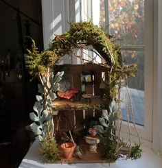 Shim Fairy House Handcrafted by Olive~ Two Story House Includes (2) Heirloom Garden Fairies, Faerie House, Fae House, Garden Faeries