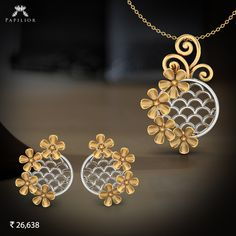 Buy Cillian Beautiful Pendant Set with an elegant & delicate design set in hallmarked gold & studded with certified diamonds and natural flower shape. Real Gold Jewelry, Gold Jewelry Simple, Pink Pendants, Jewellery Sketches, Pendant Set, Gold Pendant, Fantasy Jewelry, Jewelry Patterns, Necklace Designs