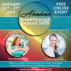 "Join me On 7th Day of event ""The Abundance Breakthrough Beyond 100K Summit as I speak with Camilla Kristiansen, Kick-Ass coach for Spiritual Hustlers. With 10+ years of experience, where we talk about how getting into alignment can bring you more money and joy. Don't miss out on this chance of listening to a great session and click https://abundancebreakthroughsummit.com on 22nd January, 2017. #summit #wealth #women #income #wealthvibes #abundance #goodvibes"