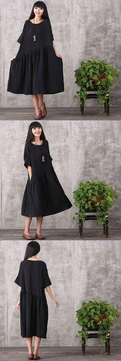 Women loose pullover cotton linen dress