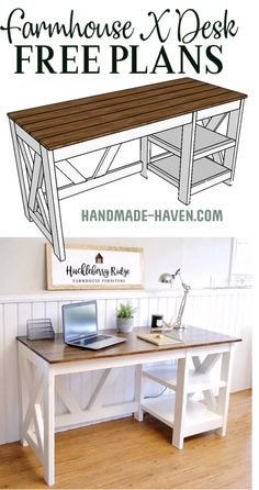 DIY Farmhouse Desk plans that will make your home office pop! Need an office farmhouse desk to spice up the home office? These DIY Desk Plans will make your office come to life. Diy Furniture Plans, Diy Furniture Projects, Farmhouse Furniture, Home Furniture, Furniture Stores, Office Furniture, Furniture Outlet, Wood Projects, Diy Furniture Table
