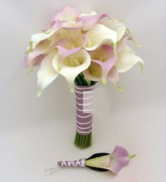 Lilac/Light Purple and White Calla Lily Bouquet Destination Wedding Bridal Bouquet Boutonniere Corsage PU Material