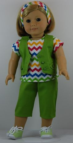 18 inch Doll Clothes fit American Girl dolls. Zig Zag Capri Outfit is now available on Amazon.