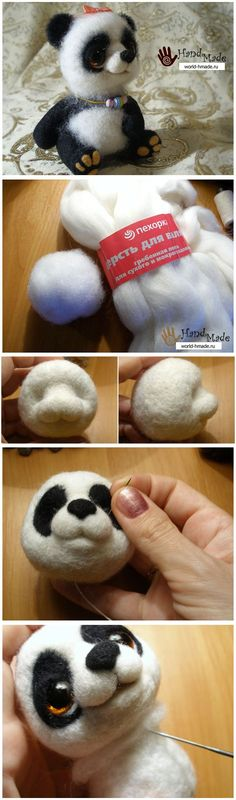 Panda tutorial pics only Wool Needle Felting, Needle Felting Tutorials, Needle Felted Animals, Wet Felting, Felt Animals, Felted Wool Crafts, Felt Crafts, Felt Mouse, Felt Patterns