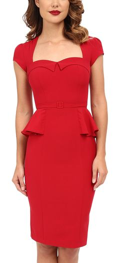 Retro peplum pencil dress