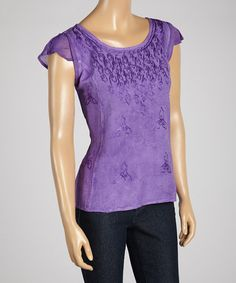 This Purple Embroidered Sheer Cap-Sleeve Top by The OM Company is perfect! #zulilyfinds
