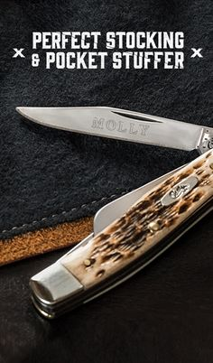 Engrave your name or personal message onto a Case knife. A personalized blade is a great way to turn a gift into a prized possession or give your knife a personal touch. Case Knives, Buck Knives, Survival Tools, Survival Prepping, Tactical Pocket Knife, Pocket Knives, Armas Ninja, Knife Stand, Tie Crafts