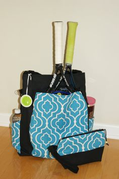 Large Tennis Bag and accessory Bag Made to Order by TranerTotes, $99.00