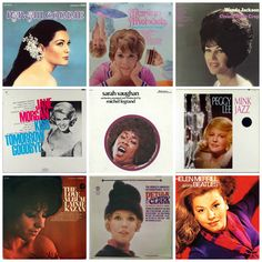 "Top row: Connie Francis, ""Hawaii Connie"" (1968); Marilyn Michaels, ""Times They Are A-Changin'"" (1967); Wanda Jackson, ""Cream of the Crop"" (1967) Middle row: Jane Morgan, ""Kiss Tomorrow Goodbye"" (1967); Sarah Vaughan, ""Orchestra Arranged & Conducted By Michel Legrand"" (1972); Peggy Lee, ""Mink Jazz"" (1963) Bottom row: Lainie Kazan, ""The Love Album"" (1967); Petula Clark, ""The World's Greatest International Hits"" (1965); Helen Merrill, ""Sings The Beatles"" (1970)"