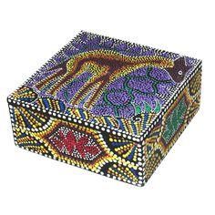 6-inch Dot Giraffe Design Decorative Aboriginal Box (Indonesia) | Overstock.com