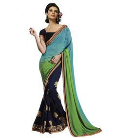 GREEN AND NAVY HALF EMBROIDERED SAREE