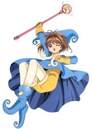 The Blue Sheep Costume    Yellow suit with blue cape and blue sheep like hat Costume features in episode: 52 This costume is based around the theme of a jester. Sakura wears this costume when she has to change the Erase card to a Star card when she is trapped in a hole and thousands of toy sheep are falling on top of her.