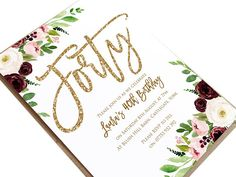 40th Birthday Invitation, Forty Party Invitations, Burgundy Birthday, Blush & Burgundy, Floral Birthday Invites, Faux Glitter Invitations