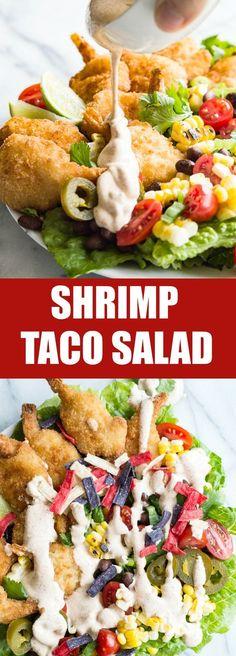 com shrimp taco salad with southwestern dressing shrimp taco ...
