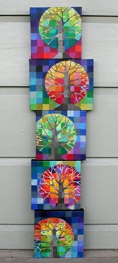 """""""Little Trees Growing"""" by Loretta Grayson. These originals are oils. Thinking grade could maybe do this as a paper mosaic and maybe zentangle tree trunk. Arte Elemental, Classe D'art, 5th Grade Art, Ecole Art, School Art Projects, Family Art Projects, Middle School Art, Art Classroom, Art Plastique"""