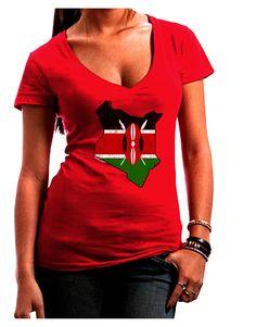 TooLoud Kenya Flag Silhouette Distressed Juniors Petite V-Neck Dark T-Shirt