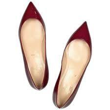 louboutin flats- burgundy, patent leather.
