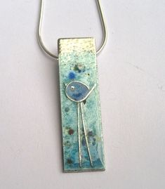 Enamelled sterling silver necklace with little bluebird with long legs. £48.00