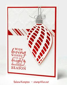 Create with Selene: Stampin Up Embellished Ornaments, December Card Class, In person, To Go, or Directions Only Christmas Cards To Make, Xmas Cards, Handmade Christmas, Holiday Cards, Christmas Ornaments, Christmas 2015, Christmas Balls, Holiday Ideas, Xmas Gif