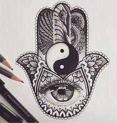 Hand of Hamsa tattoo design, Abby Charlesworth - tattoos Moños Tattoo, Hand Tattoos, Tattoo Main, Hamsa Hand Tattoo, Hamsa Art, Orca Tattoo, Body Art Tattoos, Sleeve Tattoos, Armor Tattoo