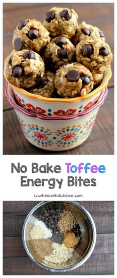 No Bake Toffee Energy Bites- A quick and easy recipe that is filled with healthy ingredients that will give you the energy boost you need! The perfect snack for those busy days.
