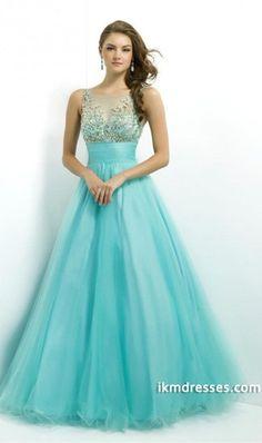 2015 Prom Dress Scoop Neckline Mesh Illusion Beaded Bodice Tullehttp://www.ikmdresses.com/2014-Prom-Dress-Scoop-Neckline-Mesh-Illusion-Beaded-Bodice-Tulle-p83246