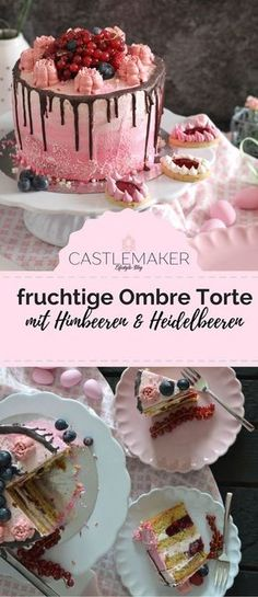Fruity cake in ombre look with raspberries & blueberries // Drip Cake «CASTLEMAKER lifest… Fruchtiger Kuchen im Ombre-Look mit Himbeeren … Drip Cakes, Food Cakes, Torte Au Chocolat, Oreo, Red Wine Gravy, Raspberry Fruit, Naked Cakes, Best Pie, Flaky Pastry