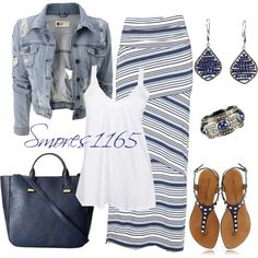 """Blue Striped Maxi"" by smores1165 on Polyvore...I should have gotten that navy striped maxi skirt I saw this week...because I have the jacket, earrings, handbag, top, bracelet and sandals almost identical to these, and I like this polyvore outfit look.  Wonder if I go back if it's still there? :)"