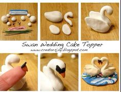 Cute, can probably do with gum paste or fondant. Creator's Joy: Polymer clay or fondant swan wedding cake topper tutorial page Fondant Figures, Polymer Clay Figures, Polymer Clay Animals, Polymer Clay Crafts, Fondant Wedding Cakes, Fondant Cakes, Wedding Cake Toppers, Fondant Bow, Fondant Flowers