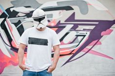 "FLATAU in front of his FIGHT Graffiti wearing the ATTITUDE-011 T-Shirt ""TAPE"". photo:Christian Brecheis / 2011"