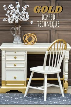 How To Paint Amazing GOLD Dipped Furniture For The Win! is part of Creative furniture DIY - Finding this small desk turned out to be just the right piece to try the gold dipped technique that I had been drooling over for so long This makeover was done… Gold Dipped Furniture, Raw Wood Furniture, Cheap Furniture, Living Room Furniture, Modern Furniture, Furniture Ads, Furniture Stores, Antique Furniture, Furniture Repair