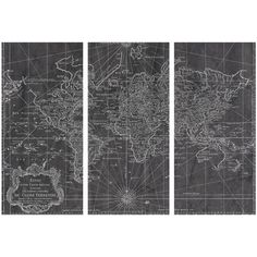 Dot & Bo Global Cooling World Map - Set of 3 ($450) ❤ liked on Polyvore