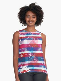 If you are a fan of pretty colors and unique decorative prints then you will love our Beautiful Bold and Patriotic Red White and Blue American USA Striped Pattern. Perfect for home decor and fashion.This design looks amazing as / Patriotic American wall tapestry /Patriotic American Duvet Cover …    #shirt #blouse #top #patriotic #USA #red #white #blue #sleeveless