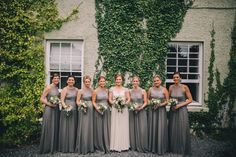 The girls ready to leave Gregans Castle for the nearby Catholic Church at Noughaval Church Destination Wedding, Wedding Venues, Bridesmaid Dresses, Wedding Dresses, Catholic, Ireland, Castle, Weddings, Girls
