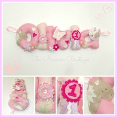 Girly horse theme felt name banner/garland/chain by The Banner Boutique.