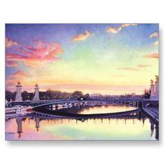 """""""Pont Neuf Paris"""" France Watercolor Art Postcards"""