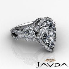 Pear Diamond 3 Stone Crosss Shank Engagement Ring GIA H SI1 14k White Gold 2 5ct | eBay
