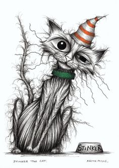 Stinker the cat Smelly pussycat in stripey hat by Keith Mills