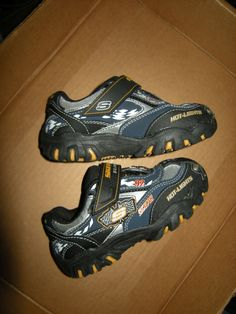 Skechers Racing Flash Light-Up Shoes, Boy's Youth Size US 9, Blue,Black, Gold #SKECHERS #Athletic